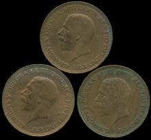 1932 G Britain 1/2 Penny AU 3 pcs