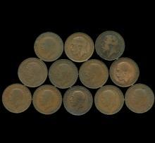 1911-36 King Geo 5 G Britain 1/2 Penny VF/XF 12 pcs