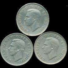 1937-39 Canada 5c Nickel VF/XF 3 pcs