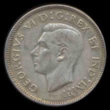 1943 Canada 25c AU+