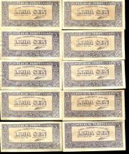 1945 Indonesia 5S Note Crisp Unc 10pcs Scarce Sequential
