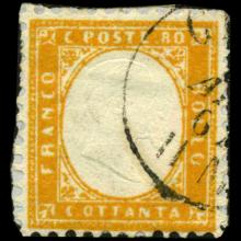 1862 Scarce Italy 80c Stamp on Piece