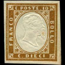 1855 Scarce Italy Sardina 10c Stamp MINT NG