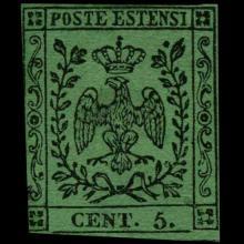 1855 Modena 5c Stamp