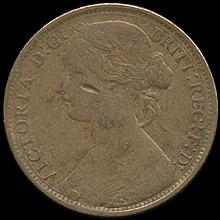 1861 Great Britain Penny F/VF RARE Variety