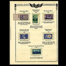 1952 US Stamp Album Page 6pcs