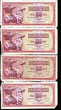 1986 Yugoslavia 100 Dinara Circulated Note 10pcs