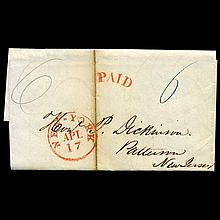 1842 NY Stampless Cover SCARCE