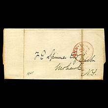 1845 NY Stampless Cover SCARCE