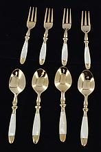 Handcrafted Brass/MOP Fork & Spoon Set of 8