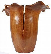 Padauk Burl Handcarved Wood Vase