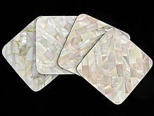 Handcrafted MOP Shell Coaster Set