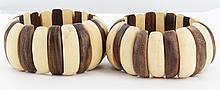 Stretch Monkey Pod & Teak Bracelet Pair
