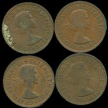 1954 G Britain 1/2 Penny XF/AU Lg Toothed Boarder 4 pcs