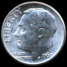 1960 Roosevelt 10c MS64/65 Double Die ERROR