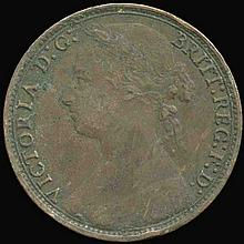 1879 British Victoria Penny XF+ Obverse Variety