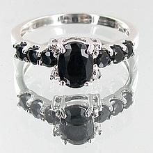 Lab Sapphire & Naturel Diamond 9k Ring
