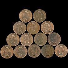 1962-67 G Britain Penny Choice UNC Red/RB 14 pcs