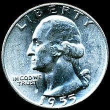 1955 Washington 25c Gem MS66/67