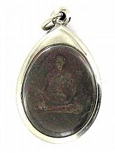 Vintage Thai Clay Monk Amulet in Nickel Pendant Case