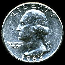 1963 Washington 25c MS63/64 Underweight ERROR