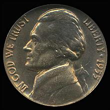 1956 Jefferson Nickel Graded GEM Rainbow Toned