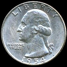 1954D Washington 25c MS64 Double Die ERROR