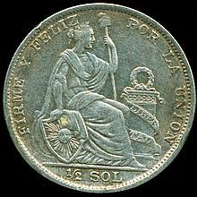 1927 Peru 1/2 Sol Silver VF