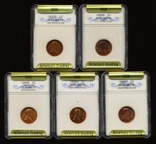 1969-70 Lincoln Cent Set Graded GEMS