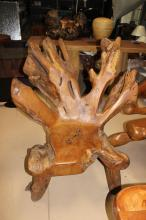 4 HAND CARVED ORIGINAL RAIN FOREST TEAK ROOT CHAIRS