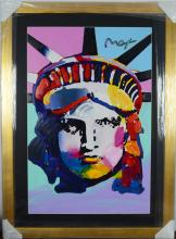 Peter Max Original Huge. Mix media acrylic on paper (Liberty Head) This is an iconic Peter Max Image.