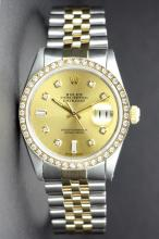 Rolex Style Stainless Steel and Yellow Gold Datejust 36mm (1980s) 16013.