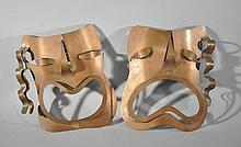 COPPER FACE MASK SCULPTURES ATTR. TO REBAJES