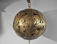JAPANESE BRONZE HANGING LAMP W/ BAMBOO LEAVES