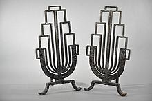 FRENCH DECO ANDIRONS ATTR. TO GILBERT POILLERAT