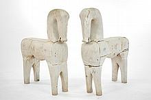 19TH C. CHINESE CARVED WOODEN HORSES