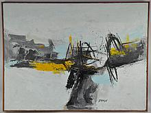 DAMON (MID 20TH CENTURY) ABSTRACT OIL PAINTING