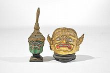 THAI GILT CERAMIC & WOOD BUDDIST BUDDHA HEADS
