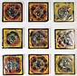 GROUP OF NINE TIFFANY ART GLASS TILES