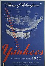 1952 New York Yankees Program 8/14/52