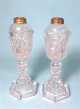 PAIR OF BOSTON & SANDWICH GLASS WHALE OIL LAMPS: