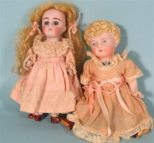 TWO SMALL ANTIQUE BISQUE DOLLS: