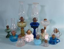 TWELVE ASSEMBLED 19TH & 20TH C KEROSENE OIL LAMPS: