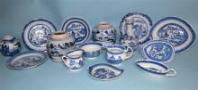 FIFTEEN 19TH C CHINESE EXPORT BLUE & WHITE CANTON PORCELAIN: