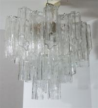 ITALIAN MID CENTURY MURANO TRONCHI GLASS CHANDELIER BY VENINI: