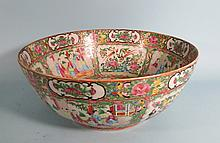 19TH C CHINESE ROSE MEDALLION PUNCH BOWL: