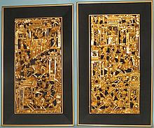 PAIR OF CHINESE GOLD GILT CARVED PANELS: