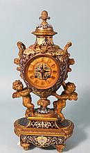 TIFFANY & COMPANY GILT BRONZE & CHAMPLEVE MANTLE CLOCK: