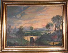 19TH C. AMERICAN SCHOOL LANDSCAPE:
