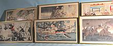 COLLECTION OF SIX JAPANESE WOOD BLOCK TRIPTYCH PRINTS: